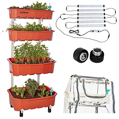 Altifarm Combo Home Farm: Vertical Raised Bed Elevated Garden Self-Watering Planter Kit (4 Tier, White) Plus Expansion Packs : Altifarm Grow System + LED Grow Lights + Greenhouse Cover + Wheel Kit