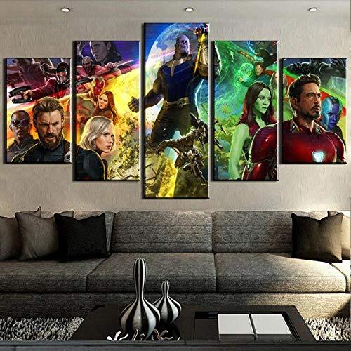 UYEDSR leinwand Poster 5 Bilder Gedruckt Avengers Infinity War Movie One Kunstdruck modern wandbilder Für Wohnzimmer