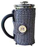 Grey French Press Cozy with Nature Button