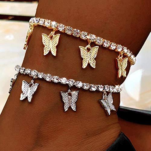 Bracelet de cheville Simsly Boho en cristal avec motif papillon - Pour femme et fille - Argenté