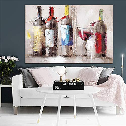 Olieverfschilderij van romantische rode wijn glas dansen print poster op canvas, moderne keuken versieren woonkamer muur foto C 40x60cm geen frame
