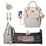 Felity All in 1 Portable Diaper Bag Backpack Waterproof with USB Charging Port Changing Station Large Capacity Baby Cradle Bag Travel Bassinet Foldable Baby Bed Crib Multifunction Bags (Grey)