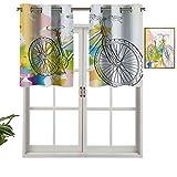 Cenefa de diseño de moda, panel térmico aislado, imagen dibujada a mano, patrón colorido abstracto con lazo en una imagen de bicicleta, juego de 1, 42 x 18 pulgadas para habitación de niños