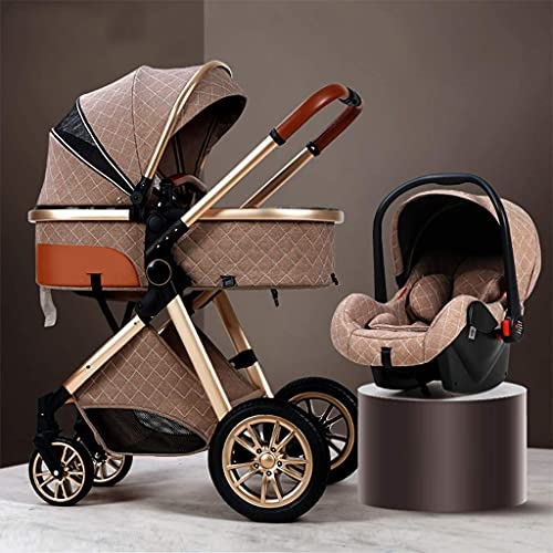3 in 1 Baby Stroller Carriage Foldable Luxury Pushchair Stroller Travel System with Car Seat Stroller Shock Absorption Springs High View Pram Baby Stroller with Mommy Bag and Rain Cover,Khaki