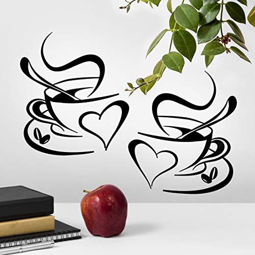 Lot de 2 tasses de stickers muraux pour cuisine en vinyle avec citation damour pour pub déco café thé décoration amovible mural autocollant mural noir tasse décoration de la maison magasin