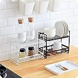 Estantería de especias: estante de hierro forjado de doble capa, soporte de piso de cocina/ arquitectura de spice de encimera/ artículos de tocador de baño, estante para tarro de especias, lata, bote