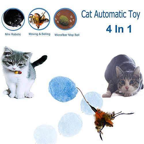 Briller Katzenspielzeug, Ball mit Federspielzeug, Mini-Rollen, zur Raumreinigung, 4 Farben