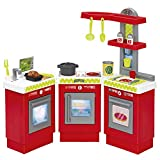 Spielzeug Kinderküche 3in1 flexibel Spielzeugküche Spielküche 21 Teile mit viel Zubehör 84x19x76cm Kinder Küche Kinderofen Kinderspülbecken Kindertopf Spielzeugtöpfe Spiellebensmittel Kindergeschirr