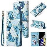 Shinyzone Custodia per Samsung Galaxy Note 9 Libro con Porta Carte,Cover Pelle Samsung Galaxy Note 9 Portafoglio Flip Stand TPU Antiurto Protettiva Caso,Marmo Doratura Blu