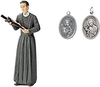 Saint Gerard Majella Patron of Expectant Mothers Statue and Free Double-Sided Silver Oxidized Medal Saint Gerard and Mother of Perpetual Help Blessed by His Holiness