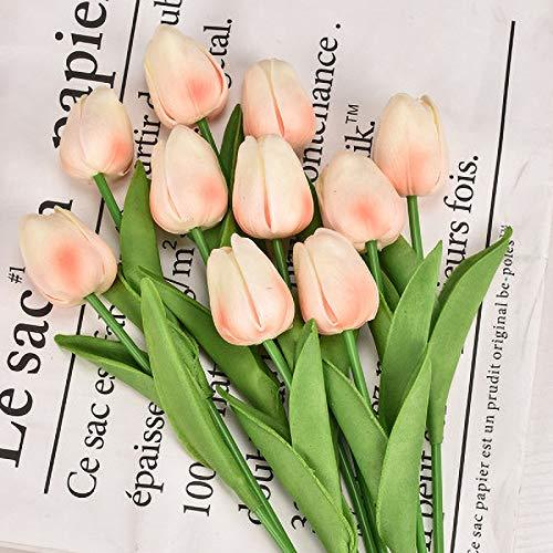 SWECOMZE 10 Stück Tulpe Künstliche Blume, Künstliches Tulpenbündel, Kunst Tulpen Deko für Zuhause Garten Braut Hochzeit Party Dekor (Sekt)