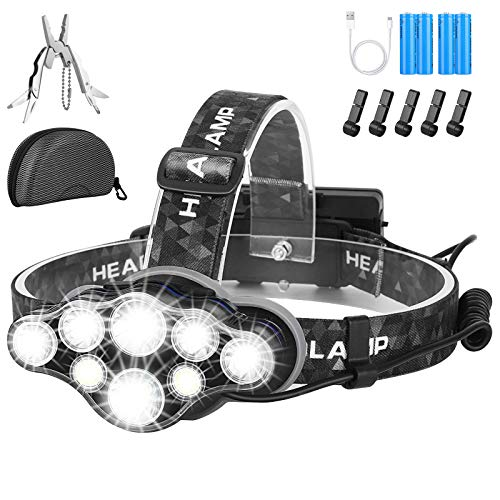 Head Torch,Super Bright Headlight,18000 Lumens 8 LED 8 Modes...
