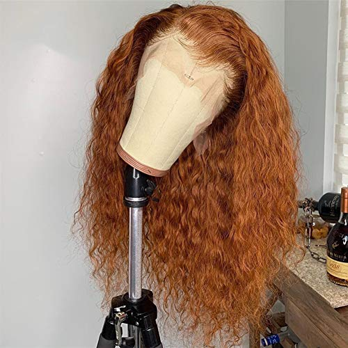 Ginger Color 13x4 Lace Front Wig Glueless Curly Human Hair Wigs for Black Women Pre Plucked Bleached Knots by Beata Hair (16Inch, Ginger)