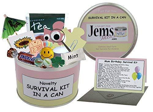 Kit de supervivencia de cumpleaños para mamá en una lata. Regalo divertido – humorístico mamá/mamá/madre/mamá/regalo de momia y tarjeta todo en uno. Disponible en otros colores
