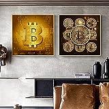 Moderno Bitcoin Dinero Lienzo Pintura Cartel Inspirador Impresiones Arte de la Pared Imágenes Sala de Estar Decoración de Oficina en casa-50x50cmx2 (sin Marco)