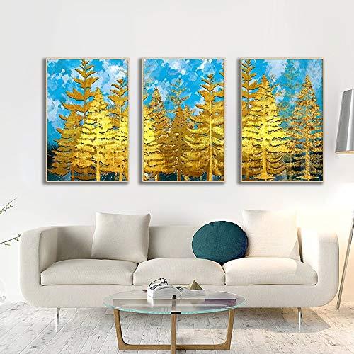 ZHQHYQHHX Blauer Himmel und goldene Woods DIY Diamant-Malerei Triptychon Wandkunst-Wand Hängende Malerei (Size : 50CMX70CM)