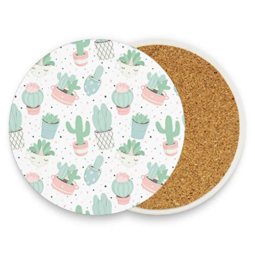 visesunny Cute Summer Cacti Drink Coaster Moisture Absorbing Stone Coasters with Cork Base for Tabletop Protection Prevent Furniture Damage, 4 Pieces