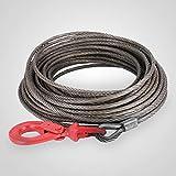 Mophorn Corde de Levage 30m Corde de Forêt 2t Corde de Levage Câble Corde Grue Câble de Remorquage avec le Crochet de Levage