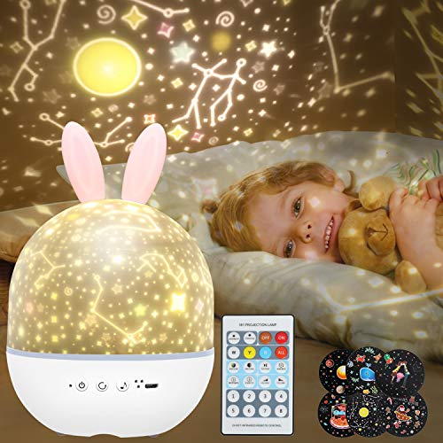 Night Light Projector for Kids, 2 in 1 Baby Night Lamp Musicbox with Remote Control, 6 Projector Films 360° Rotation Romantic Starry Sky Baby Nursery Night Light Birthday for Children (Rabbit Pink)