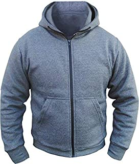 Bikers Gear Australia Kevlar Lined Protective Motorcycle Hoodie with Removable CE Armour Grey