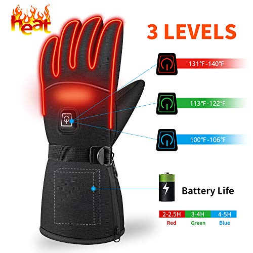 Camping-Warmers Winter Heated Gloves – Waterproof Hand heating Gloves 3 Level Temperature Control Hand Warmers for Outdoor Cycling Skiing Skating Hiking Best Winter Gifts for Your Families and Friends