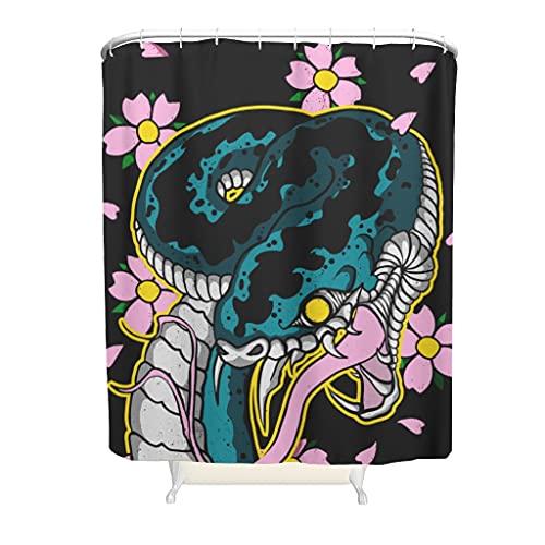 kikomia Wasserdicht Duschvorhang Japanisch Schlange Blume Druck Duschvorhang Liner Badezimmer Inneneinrichtung white 150x200cm