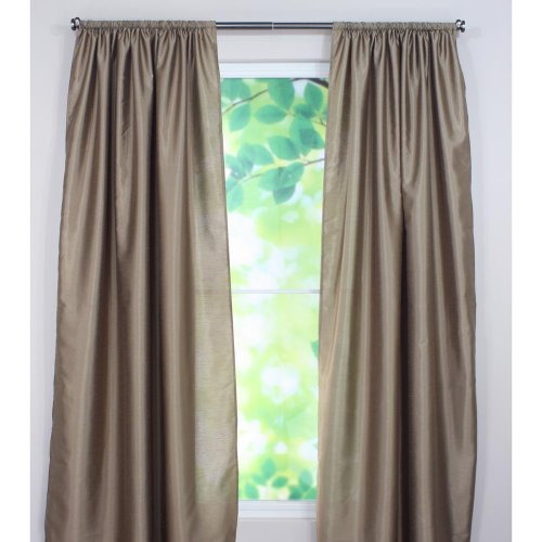 Brite Ideas Living Shantung Cappuccino Rod Pocket Curtain Panel, 54 by 84