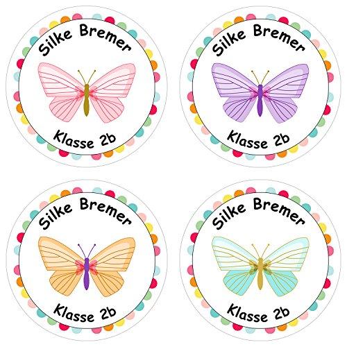 Papierdrachen 24 individuelle Aufkleber für Kinder - Motiv Schmetterling - personalisierte Sticker - ideal zur Einschulung und zum Beschriften von Büchern und Heften