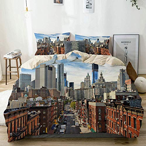 Duvet Cover Set Beige,City Famous Travel Destination Print,Decorative 3 Piece Bedding Set with 2 Pillow Shams Easy Care Anti-Allergic Soft Smooth