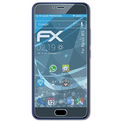 atFolix Schutzfolie kompatibel mit Meizu M5 Folie, ultraklare FX Bildschirmschutzfolie (3X)
