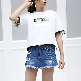 LL 2018夏季新款都市休闲含棉蕾丝拼接宽松直筒短袖T恤女
