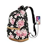 Sqodok Floral Backpack with USB Charging Port, Charging Bookbag for Women College Girls, Lightweight Travel Daypack 14' Laptop Bag Student Rucksack for School