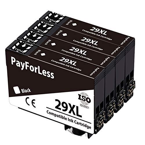 PayForLess 29XL Cartuchos de Tinta Compatible para Epson 29XL con Epson Expression Home XP-235 XP-245 XP-247 XP-255 XP-342 XP-332 XP-335 XP-345 XP-355 XP-352 XP-432 XP-435 XP-442 XP-445 (4 Negro)