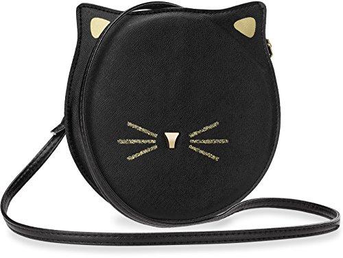 runde Schultertasche für Junge Dame Mädchen schöne Clutch mit Katze – Motiv schwarz