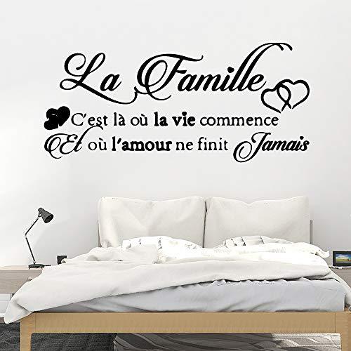 Elegante spreuk in het Frans, vinyl, wandbehang, decoratie voor de slaapkamer. 43cm X 95cm Blanco Y Gris