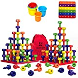 Stacking Peg Board Toy Set | JUMBO PACK | Montessori Occupational Therapy Fine Motor Skills for Toddlers and Preschooler, 60 Pegs & Board | 3 Free Bonuses, 6 Stacking cups, Colorful Board, Carry Bag