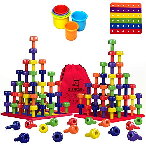 Image of the Stacking Peg Board Toy Set | Jumbo Pack | Montessori Occupational Therapy Fine Motor Skills for Toddlers and Preschooler, 60 Pegs & Board | 3 Free Bonuses, 6 Stacking Cups, Colorful Board, Carry Bag