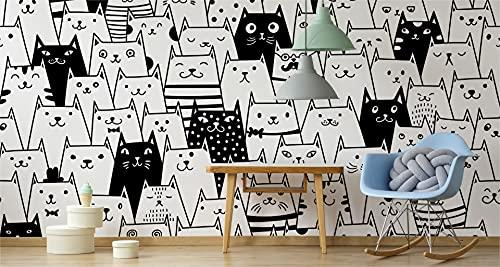 Muralo Papel pintado fotográfico para habitación infantil, 460 x 300 cm, diseño de jaulas en blanco y negro, 460 x 300 cm