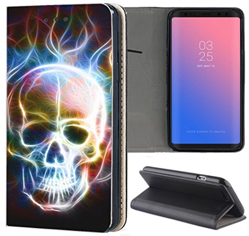 KX-Mobile Samsung Galaxy S3 / S3 Neo Hülle - Handyhülle für Samsung Galaxy S3 / S3 Neo - Handycover aus Kunstleder Motiv 1361 Totenkopf Skull Abstract in Flammen Schutzhülle Smart Klapphülle Hülle