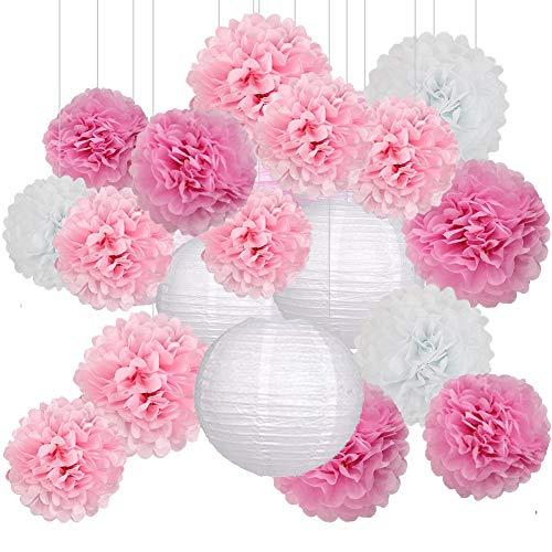 Sunshine smile Seidenpapier Pompoms Deko Hochzeit,Seidenpapier Pompoms Blumen,Papierblumen Pompons,Hochzeit Deko Set,Laternen Wabenbälle,mit 2 Papierlaterne (18er Set) (Rosa)