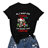 NANTE Top All I Want for Christmas is You & Just Kidding I Want Elephants Christmas Funny Print Short Sleeves Baseball T-Shirt Xmas Party Tops
