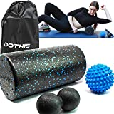 4 in 1 Foam Roller with Spiky and Peanut Massage Ball - Back-Roller with Massager Balls, Speckled Firm Muscle Rollers for Physical Therapy, Pilates, Yoga, Workout, Stretching, Balance & Core Exercises