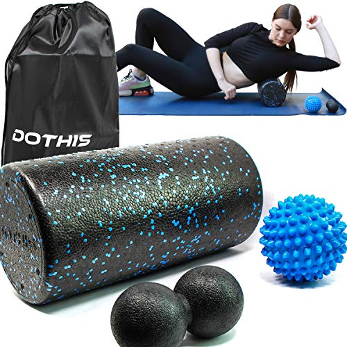 Foam Roller with Spiky and Peanut Massage Ball  4 in 1 BackRoller with Massager Balls Speckled Firm Muscle Rollers for Physical Therapy Pilates Yoga Workout Stretching Balance amp Core Exercises