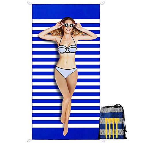 MEIZI Strandtuch Sandfrei 180X90CM, Strandhandtuch Mit Streifen Strandtuch Groß Strandlaken Schnelltrocknend Leicht, Strand Tuch Badetuch Strand Damen Männer Unisex