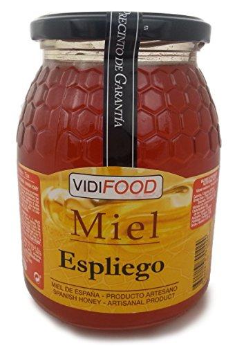 Lavendel Roher Honig - 1kg - In Spanien gesammelt - Feinste Qualität, Hausgemacht & 100% rein - Blumiges Aroma und reicher, süßer Geschmack - Große Vielfalt an leckeren Geschmäckern
