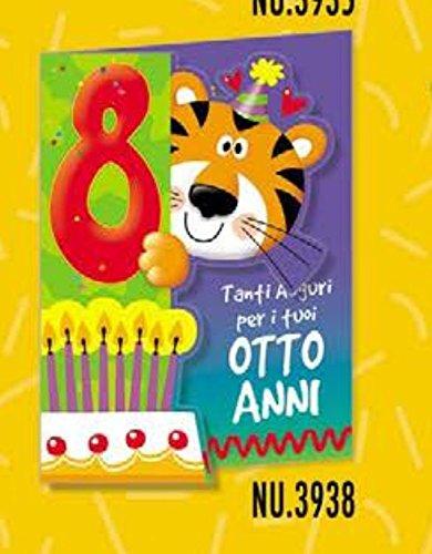 Subito Disponibile Biglietto Auguri Compleanno ANIMALOTTI 8 ANNI Con Tigre