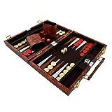 PrimoLiving Backgammon mit Kunstleder Koffer 36 x 27,5 cm