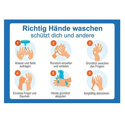 10 Set Hinweisschild Hände richtig desinfizieren waschen | Anleitung Händedesinfektion Hände waschen Aufkleben | Hygiene Desinfektion | Handdesinfektion Händewaschen
