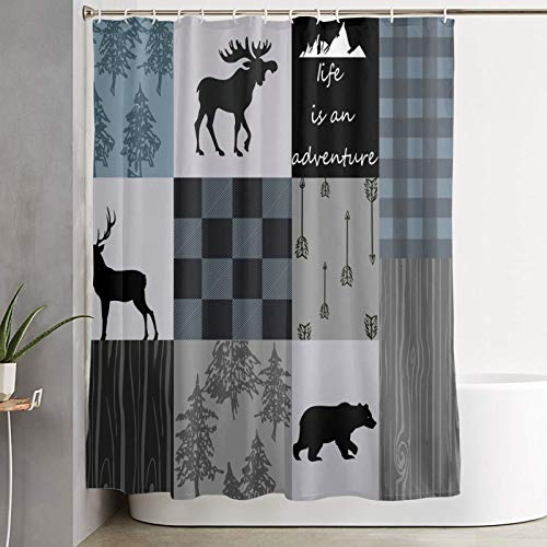 Carwayii Rustic Shower Curtain,Country Style Lodge Bear Deer Moose Bathtub Curtain for Farmhouse,Decorative Bathroom Curtain with 12 Hooks for Home Decor,Quick Dry Water Resistant Bath Curtain 72x72In