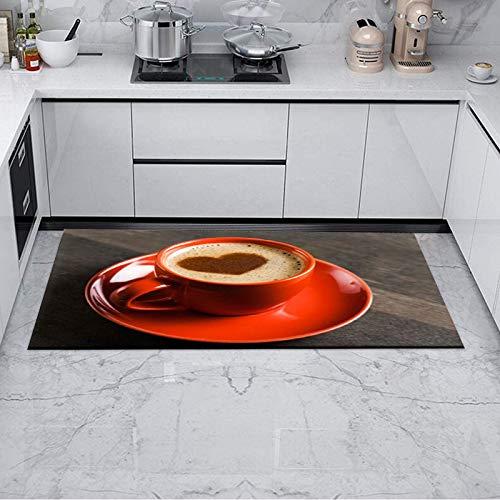 Alfombra de goma para interiores y interiores, antideslizante, lavable, 50 x 70 cm, alfombra de cocina pequeña, para café, fruta